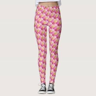 Gold und rosa Meerjungfrau-Skalen Leggings