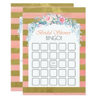 Gold und Rosa-Streifen-BlumenBrautparty-Bingo 12,7 X 17,8 Cm Einladungskarte