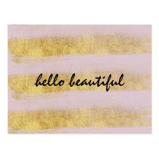 Gold und rosa Streifen Postkarte