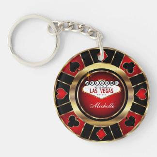 Gold und roter Poker-Chip-Entwurf - Schlüsselanhänger