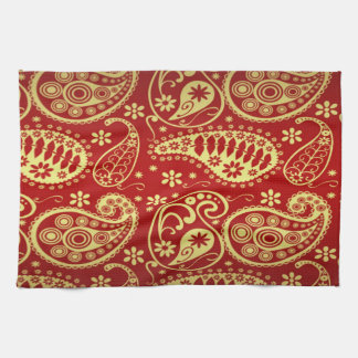 Gold und rotes Paisley-Muster Handtuch
