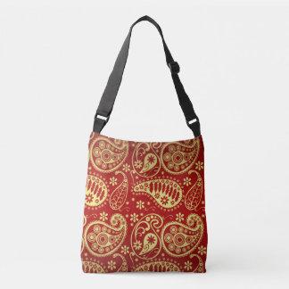 Gold und rotes Paisley-Muster Tragetaschen Mit Langen Trägern