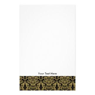 Gold-und Schwarz-elegantes Damast-Muster Bedrucktes Büropapier