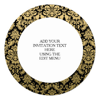 Gold-und Schwarz-elegantes Damast-Muster Quadratische 13,3 Cm Einladungskarte