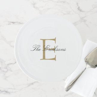 Gold und Schwarz-elegantes Monogramm Tortenplatte