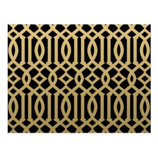 Gold-und Schwarz-modernes Gitter-Muster Postkarte