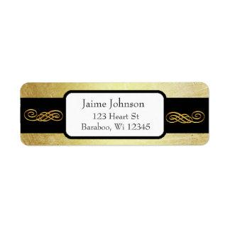 Gold und Schwarz-nobler Rücksendeadresse-Aufkleber