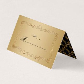 Gold und Schwarz-verzierte Eleganz Platzkarte