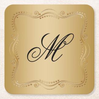 Gold und Schwarz-verzierte Eleganz Rechteckiger Pappuntersetzer