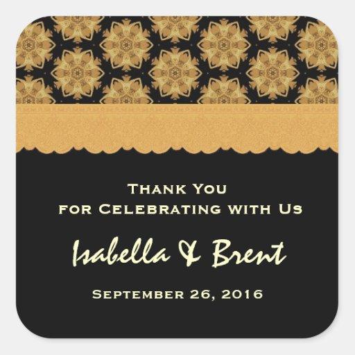 Gold und schwarze Hochzeit danken Ihnen Wedding R3 Aufkleber