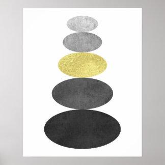 Gold und schwarze Zenkieselkunst drucken modernes Poster