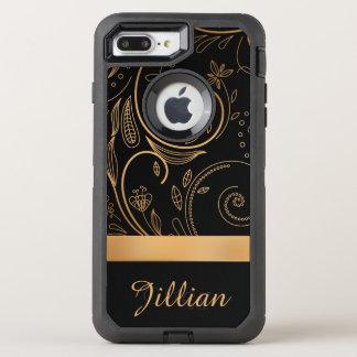 Gold und schwarzer Damast mit Blumen, Name OtterBox Defender iPhone 8 Plus/7 Plus Hülle