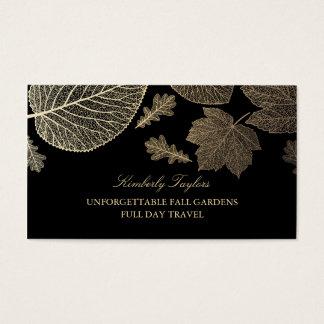 Gold und schwarzer Herbstlaub elegant Visitenkarten