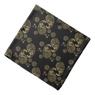 Gold und schwarzer Paisley-Entwurf Kopftuch