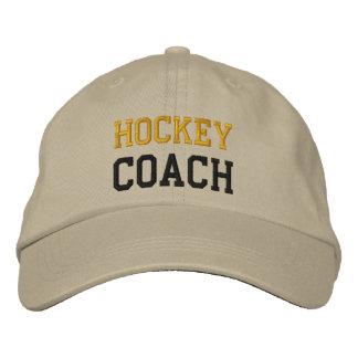 Gold und schwarzer Text-Hockey-Zug-Hut Bestickte Kappe