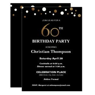 Gold und Schwarzes, 60. Geburtstags-Party Karte