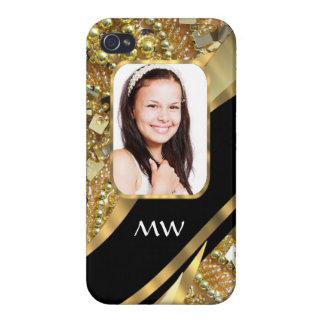 Gold und schwarzes Bling iPhone 4 Case