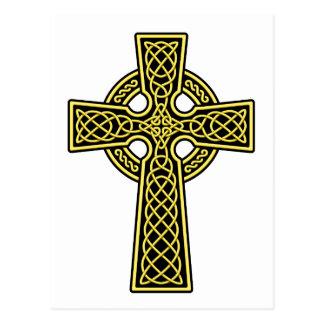 Gold und Schwarzes des keltischen Kreuzes 2 Postkarte