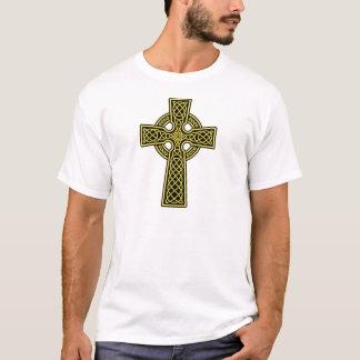 Gold und Schwarzes des keltischen Kreuzes T-Shirt