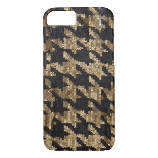 Gold und schwarzes Sequins-Hahnentrittmuster iPhone 8/7 Hülle