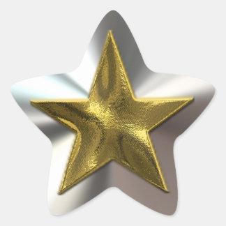 Gold-und Silber-glänzende Stern-Aufkleber
