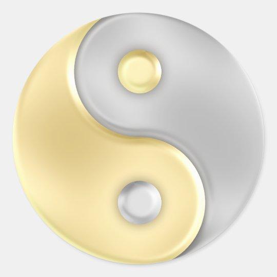 gold und silber yin und yang runder aufkleber zazzle. Black Bedroom Furniture Sets. Home Design Ideas