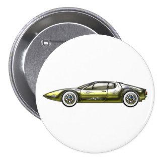 Gold und Siler Sport-Auto Runder Button 7,6 Cm