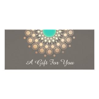 Gold-und Türkis-BlumenMandala-Geschenkgutschein Werbekarte
