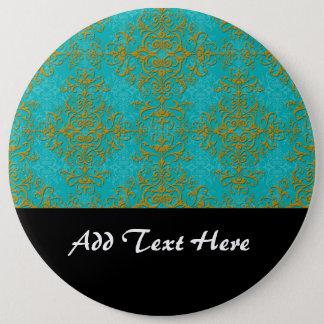 Gold-und Türkis-Damast-Art-Muster Runder Button 15,3 Cm