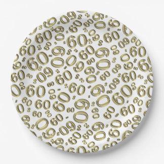 Gold-und Weiß-60. Geburtstags-Party-Collagen-Thema Pappteller