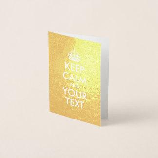 Gold und Weiß behält Ruhe und Ihren Text Folienkarte