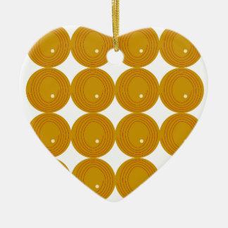 Gold und weiße Kreise Keramik Herz-Ornament