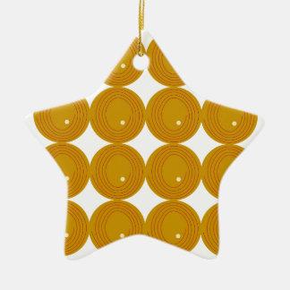 Gold und weiße Kreise Keramik Stern-Ornament