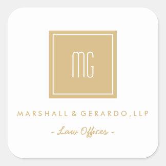 Gold und weiße Monogramm-Geschäfts-Logo-Aufkleber Quadratischer Aufkleber