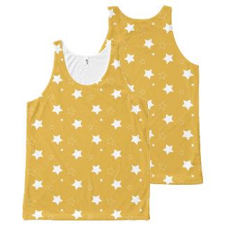 Gold und weiße patriotische Sterne Komplett Bedrucktes Tanktop