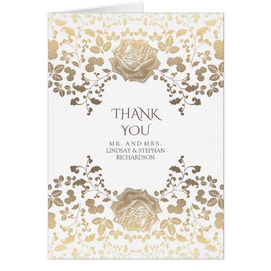 Gold und weiße Vintage Blumenhochzeit danken Ihnen Mitteilungskarte
