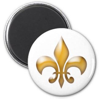 Gold und weißer klassischer Lilien-Magnet Runder Magnet 5,7 Cm