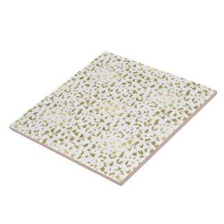 Gold und weißer Tierdruck Keramikfliese