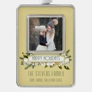 Gold-und weißer Watercolor-BlumenFoto-Karte Rahmen-Ornament Silber