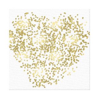 Gold und weißes Confetti-Herz Leinwanddruck