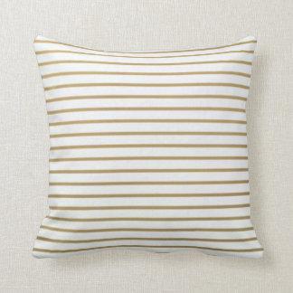Gold und weißes dünnes Streifen-Kissen Kissen