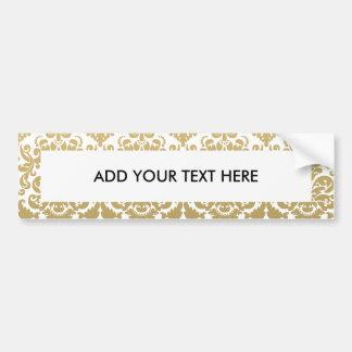 Gold und weißes elegantes Damast-Muster Autoaufkleber