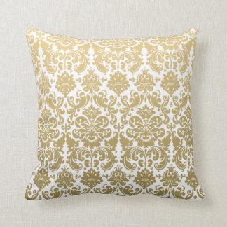Gold und weißes elegantes Damast-Muster Zierkissen