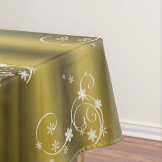 Gold und weißes Wirbels-Weihnachten Tischdecke
