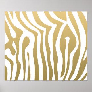 Gold und weißes Zebra-Streifen-Muster Poster