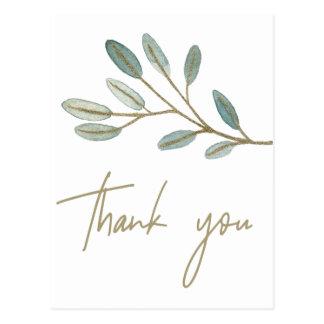 Gold Veined Eukalyptus danken Ihnen Postkarte