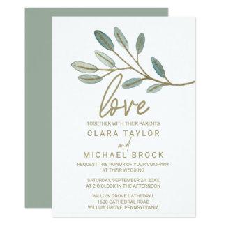 Gold Veined Eukalyptus-Liebe Wedding Karte