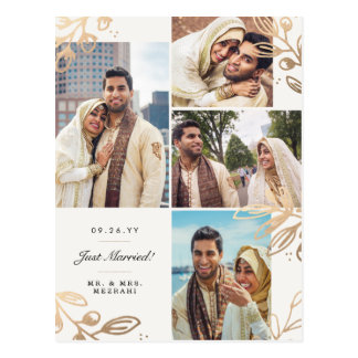Gold verlässt die 4 Foto-Hochzeits-Mitteilung Postkarte