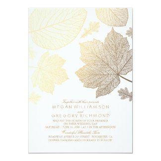 Gold verlässt Vintage elegante Hochzeit im Herbst 12,7 X 17,8 Cm Einladungskarte