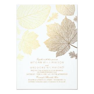 Gold verlässt Vintage elegante Hochzeit im Herbst Karte